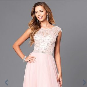 Blush Jeweled Lace-Bodice Long Dress with V-Back